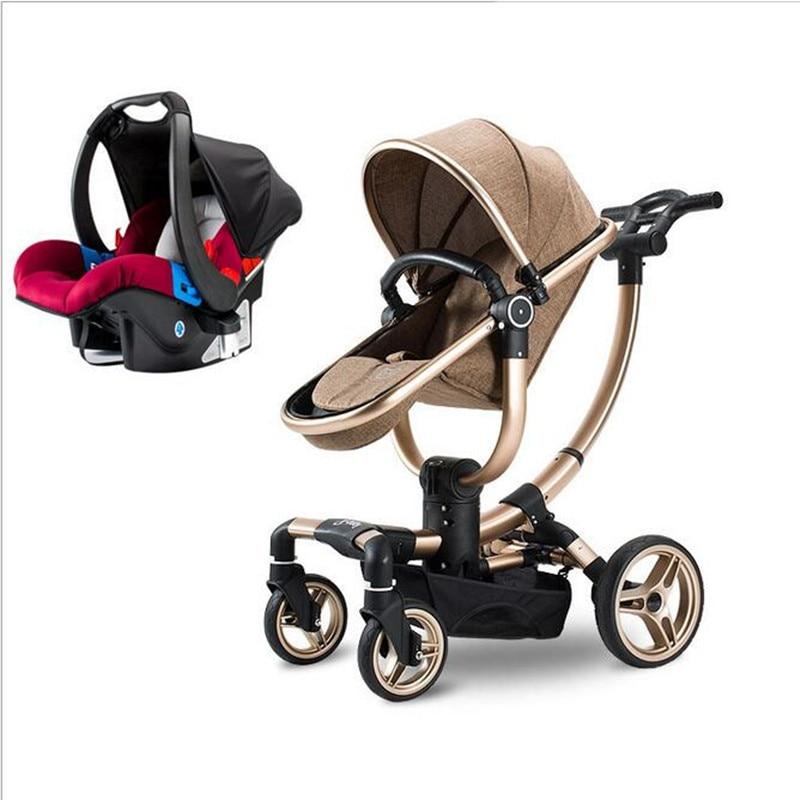 Bébé poussette Multifonctionnel 2017 nouvelle de luxe bébé chariot 3 en 1 bébé poussettes lumière de voiture dormir panier