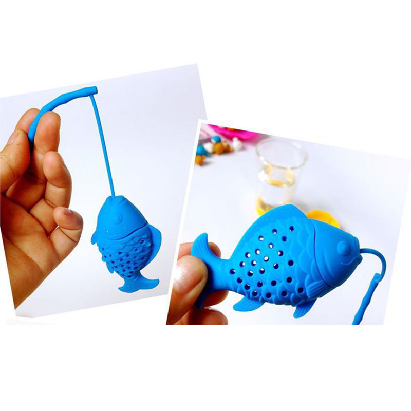 Silicone Cute Fish Fishing Shape Tea Leaf Herbal Strainer Filter Infuser Bags