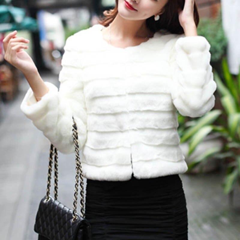 Autumn Fashion Women Jacket Elegant Faux Rabbit Fur Coat Short Slim Outerwear Fur Tops Plus Size 3XL