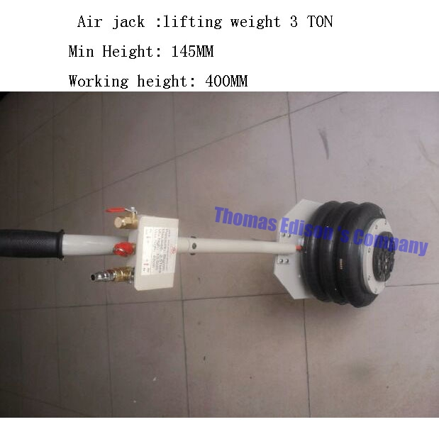3TON air pressure auto jack car jack air inflation jack lifting weight 3 TON Working height 400MM Min Height 145MM pneumatic airbag jack pneumatic jack white air pressure auto jack instrument of vehicle maintenance and repair