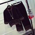 Chándales Venta 2016 Otoño Nuevo Traje de Tejer Las Mujeres de Estilo Europeo Y Americano Camisa Suéter Flojo de Moda Pantalones de Pierna Ancha