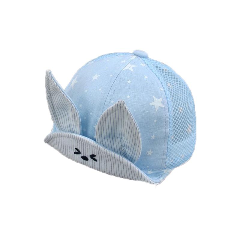 Unisex Baby Mesh Patchwork Visors Cap Child Rabbit Ear Design Star Print Adjustable Summer Soft Brim Sun Protective Hat MZ5781