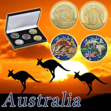 WR Australian Kangaroo Gold Silver Coin Home Decorative Unique Animal Commemorative Metal Coins Creative for Christmas Gifts 5pc