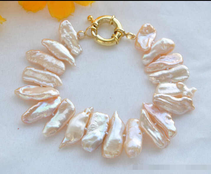 free shipping Z5793 NATURAL 8 22mm Pink Dens Biwa Freshwater Pearl Bracelet@^Noble style Natural