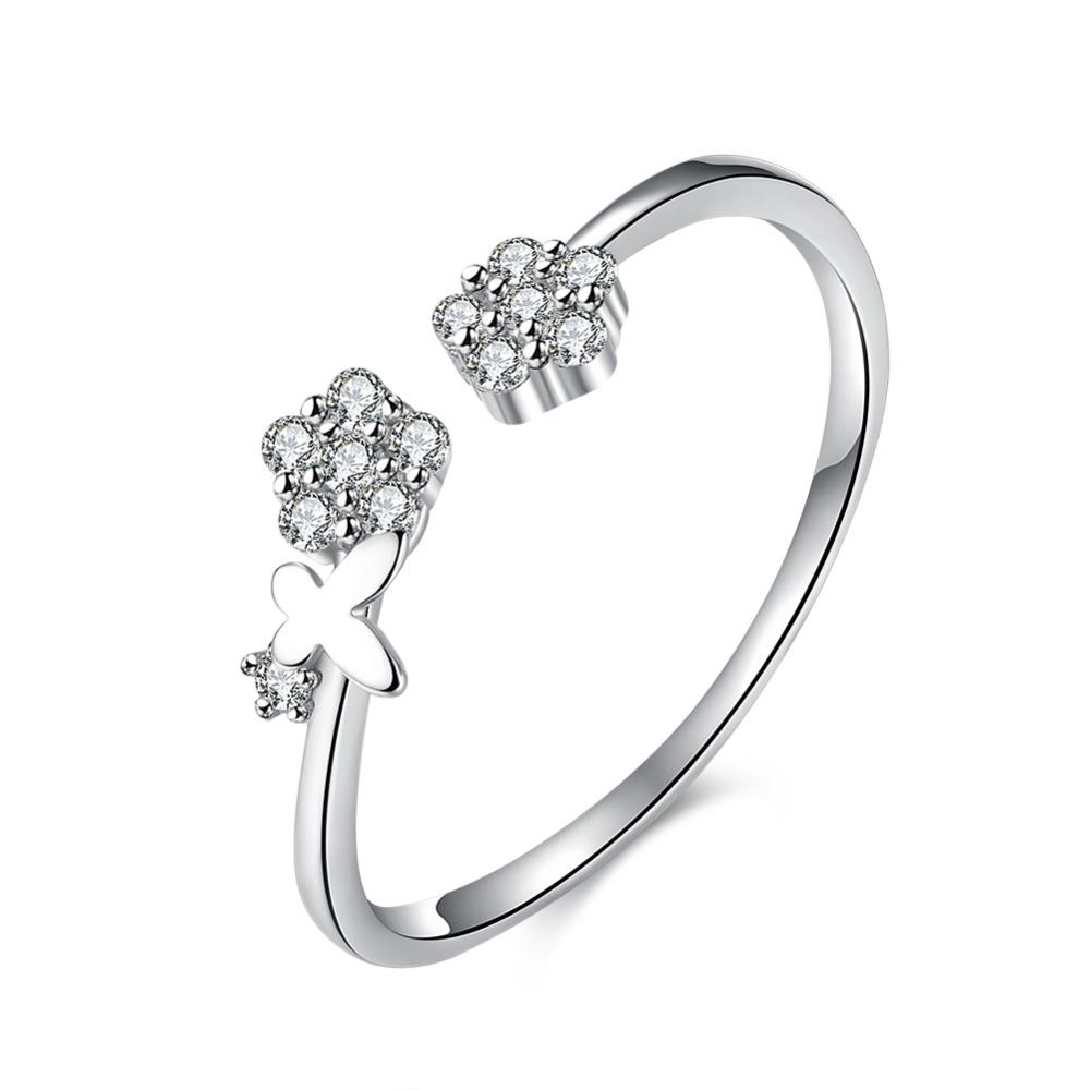 india jewelry pretty wedding rings promotion pretty wedding rings New Arrival Sterling Silver Ring Silver Fashion Jewelry Pretty Zircon Flower Rings For Women Party Wedding SVR