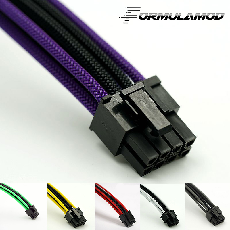 FormulaMod Fm-CPU8P-C, CPU 8Pin Power Extension Cables, Motherboard 18AWG 8Pin Multicolor Matching Extension Cables