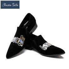 Кристиа Белла вышитые цветочные Дизайнерские мужские бархатные туфли модные мужские курительные тапочки мужские свадебные и вечерние Лоферы Большие размеры