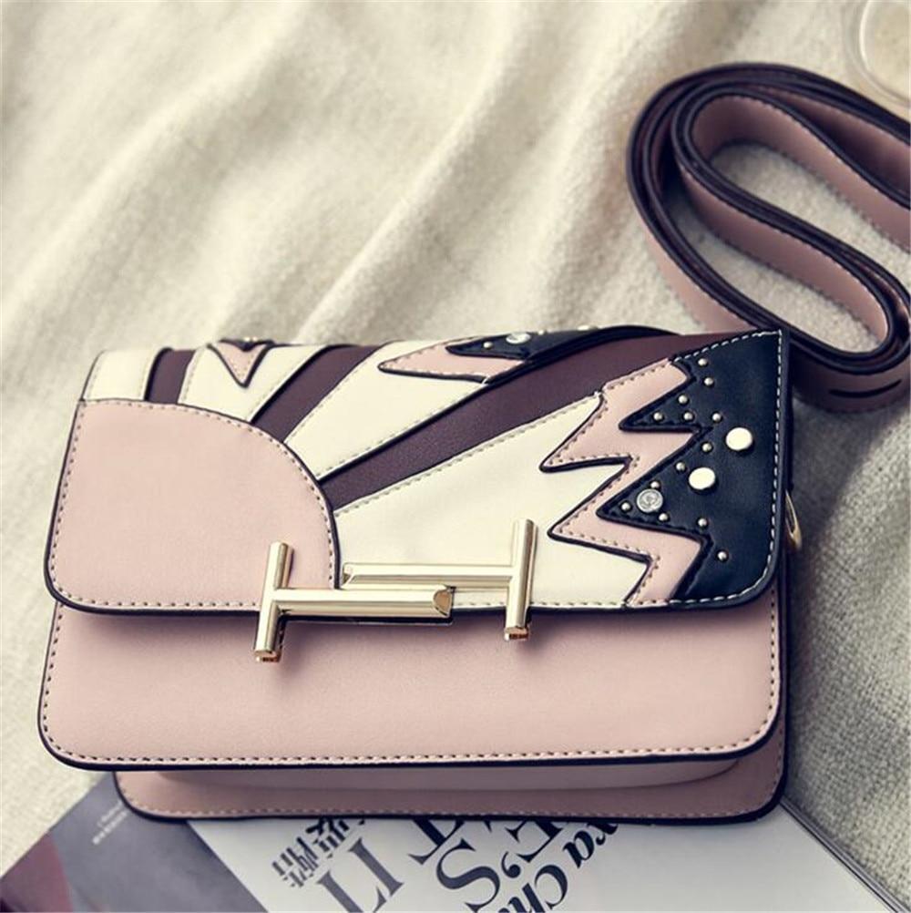 Hit color Patchwork Panelled Rivet mini small bag shoulder bag handbag woman crossbody women messenger bag