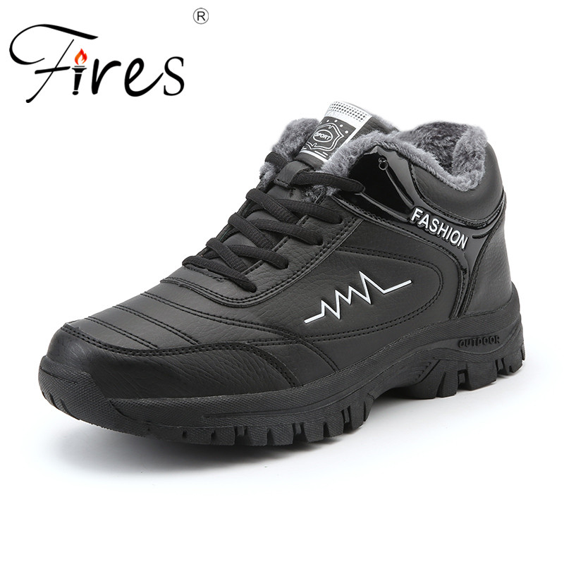 Fires Warm Men Hiking Shoes Fur Autumn Winter High Top Walking Boots Mountain Climbing Trekking Outdoor