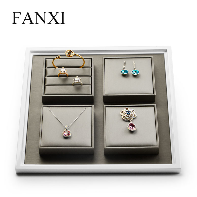 FANXI  PU Leather Jewelry Display Tray With Solid Wood Champagne Ring Necklace Bangle Earring Display Stand Organizer Showcase