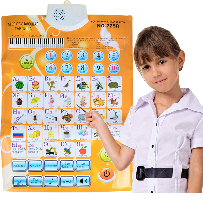 Kids Russian Sound Wall Chart Språk ABC Alphabet Number Flip Chart, Early Learning & Education Machines (3 batterier krävs)