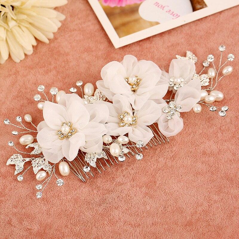 1 Piece Handmade Flower Hair Comb Pearl Jewelry Women Hair