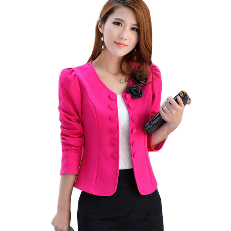 Frühling Frauen Blazer 2019 Mode Zweireiher Design Lange-sleeve Cardigan Büro Kurze Blazer Weibliche Jacke Frau Mantel Tops