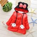 2-5 años Invierno Abrigos para Niñas Abrigos Chaquetas Niños Niñas Bebé de La Manera Con Capucha de la Capa Caliente Fleece Infantil Niña escudo WT52