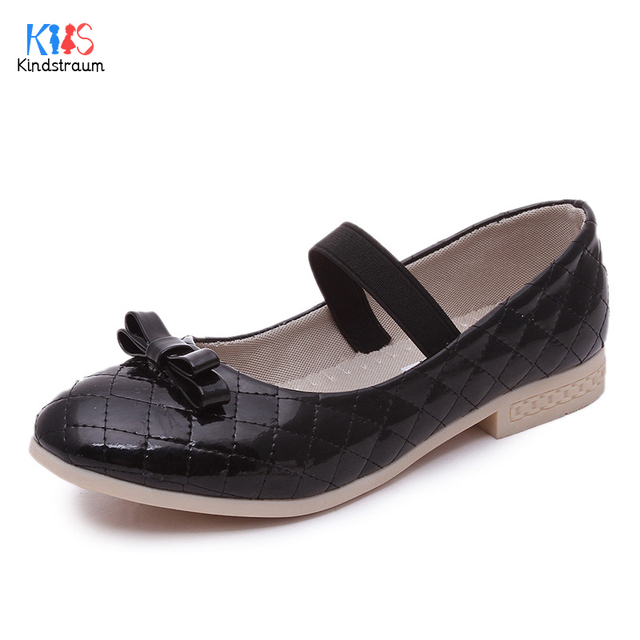 Kindstraum 2017 New Design Girls Bow Shoes Brand Children Bow Dancing Shoes Spring & Autumn Fashion Leather Shoes for Kids,RJ494