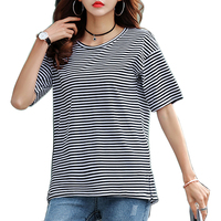 2019 New Women Tops O Neck T Shirt Short Sleeve Striped T Shirts Tees Blusas Femininas Free Shipping S XXXL Plus Size