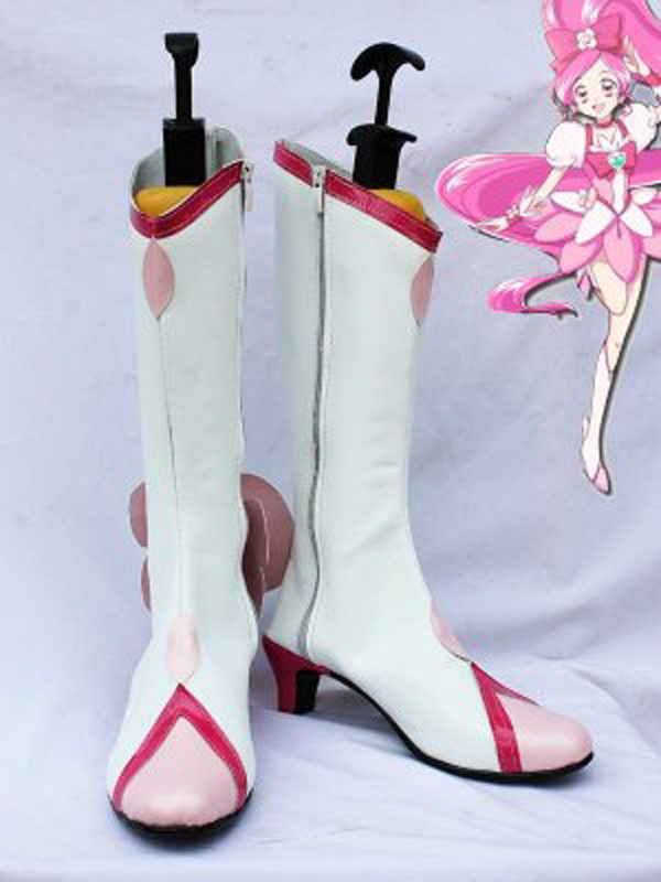 Pretty Cure Cure Blossom White Cosplay Boots Shoes Anime Party Cosplay Boots Custom Made for Adult Women High Heel Shoes
