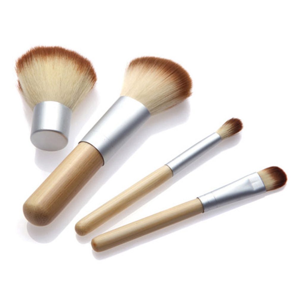 4 Pcs/Set Makeup Brushes Bamboo Handle Makeup Brushes Set Cosmetics Tool Kit Powder Blush Brushes Professional Eyebrow Brush