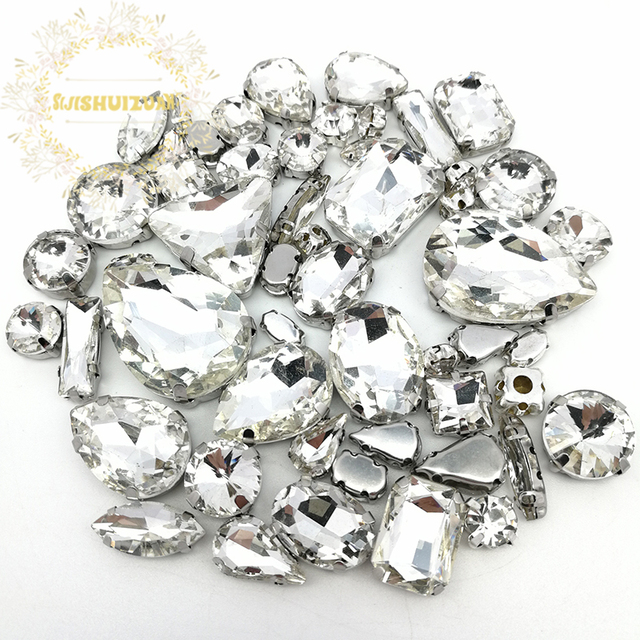 ec0ab9c811 Aliexpress.com : Buy Popular! MIX White Size Crystal Glass Sew on  Rhinestones Silver Bottom DIY Women's Dresses and shoes 52pcs 20sizes  10shapes from ...