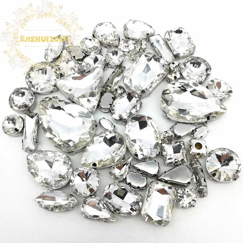 Populer! Campuran Putih Ukuran Crystal Kaca Menjahit Berlian Imitasi Perak Bawah DIY Wanita Gaun dan Sepatu 52 Pcs 23 ukuran 10 Bentuk