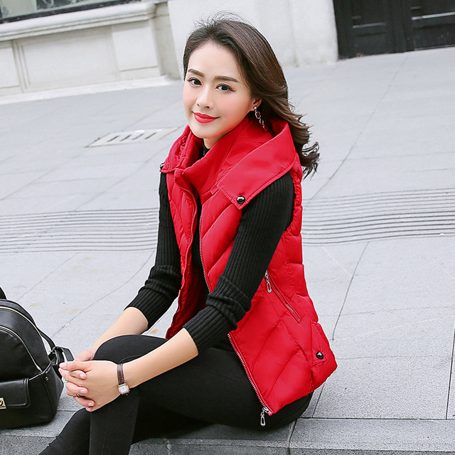 e7250f9a7f8 KUYOMENS Women Winter Vests 2018 New Lightweight Slim Short Vest Cotton  Padded Jacket Sleeveless Female Collar Waistcoat