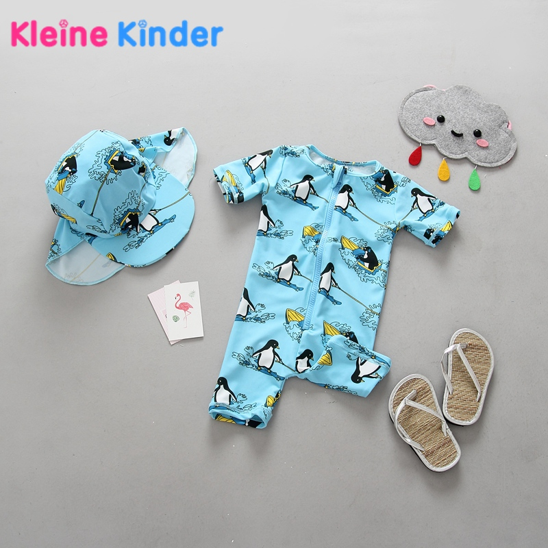 Unisex Newborn Baby Swimwear One Piece Rashguard with Swim Cap Cartoon Penguin Print Short Sleeve UPF50+ Girls Boys Swimsuit Set цена