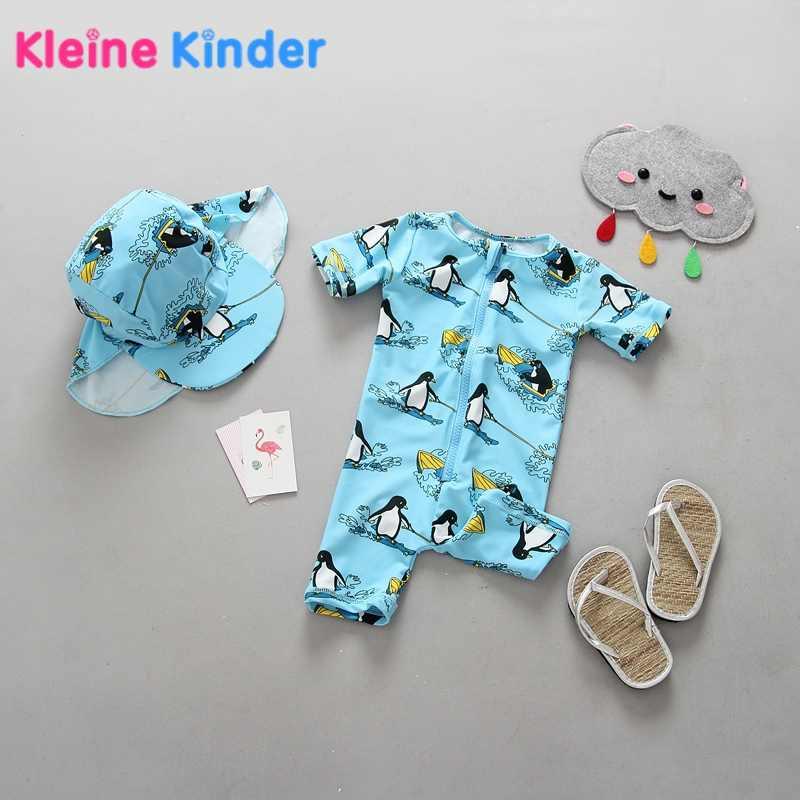 fe30b7fe6b69c Unisex Newborn Baby Swimwear One Piece Rashguard with Swim Cap Cartoon  Penguin Print Short Sleeve UPF50+
