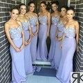 Moda Querida Apliques de Renda vestido de festa de Casamento festa Vestido de Ombro Off Luz Roxo Da Sereia Da Dama de Honra Vestidos Sexy