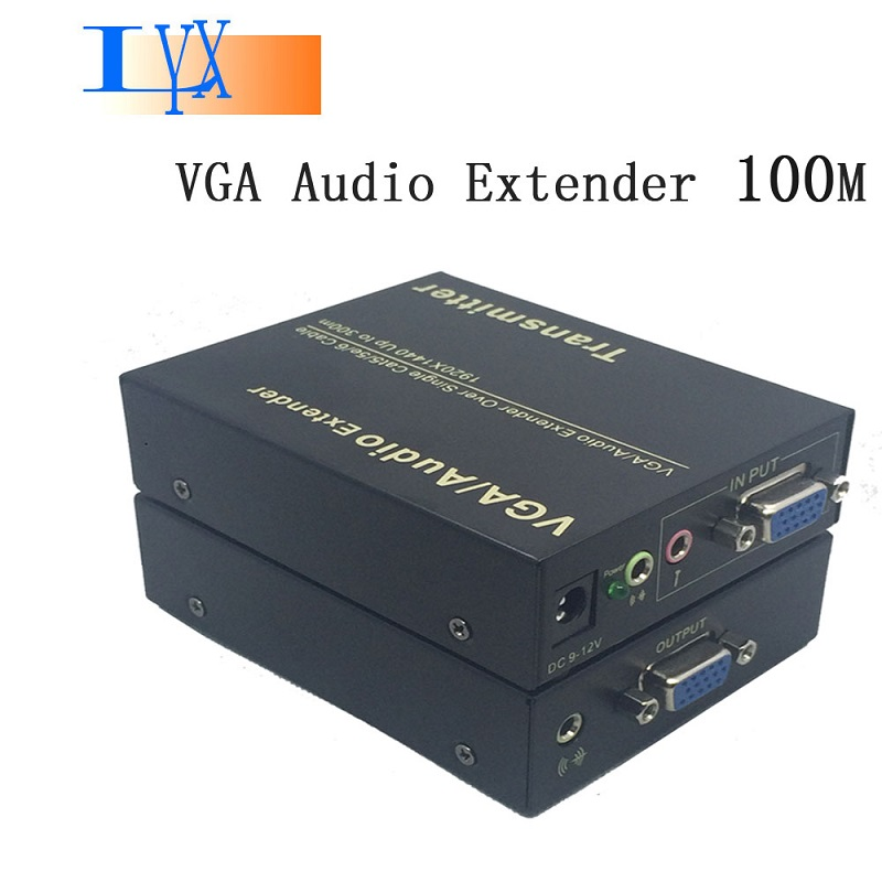 VGA Extender Converter By Cat-5e Cat 6 Network Cable Sender + Receiver with Audio 100M 200M 300M