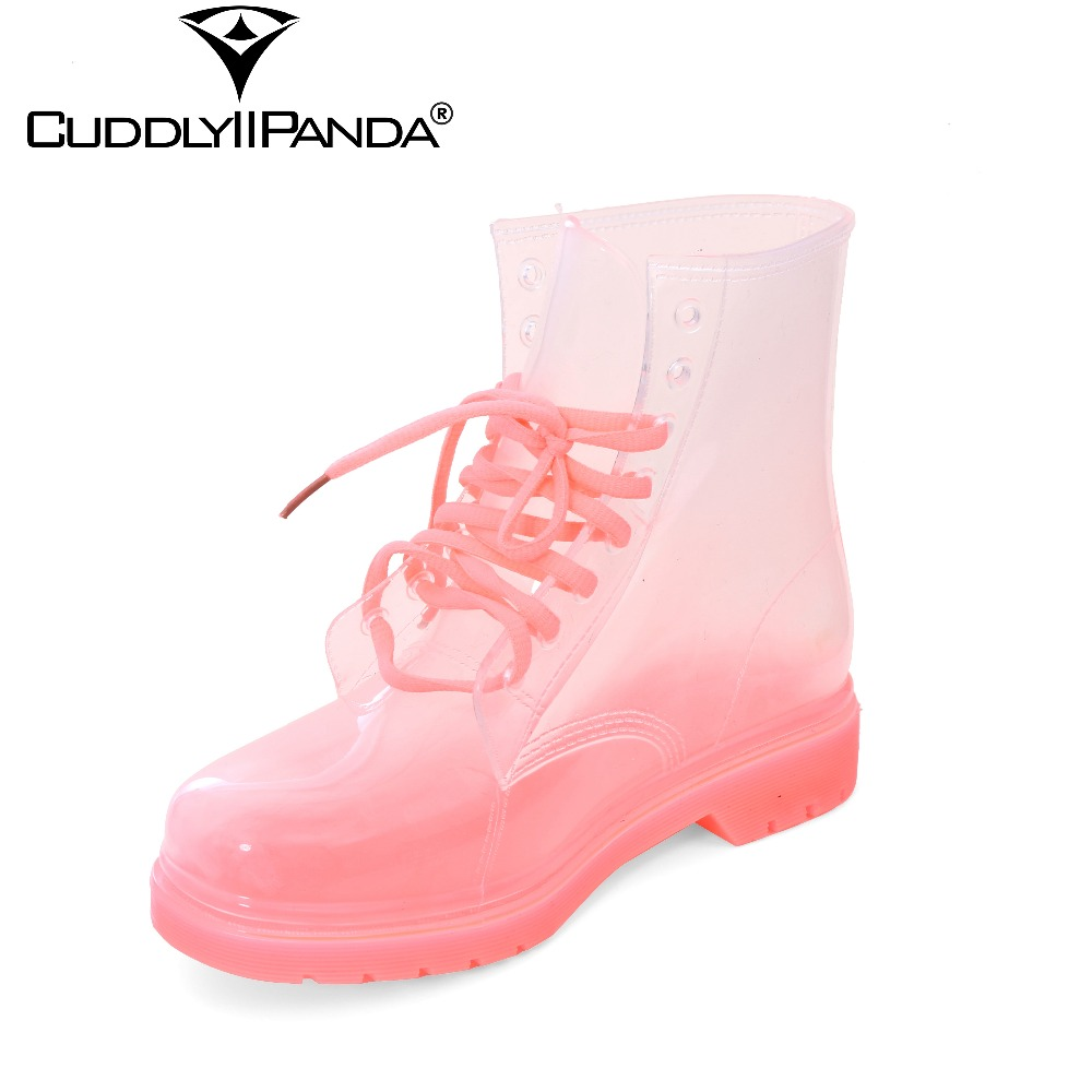 2017 New Arrival 17 Types Women Rain Boots Waterproof Martin Boots Crystal Jelly Shoes Transparent Boots