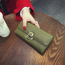 2016 New Fashion Ladies Wallets Genuine Leather Ring Hasp Evening Bag Purses Women Long Clutch Wallet Purse Pocket Zipper Poucht