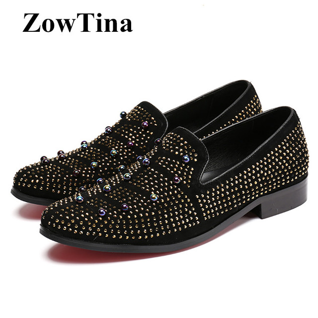 3038929619e Men Black Leather Flats Fashion Studded Mocassin Loafers Shoes Man Large  Size 46 Creepers Man Driving Shoes Breathable Sneakers