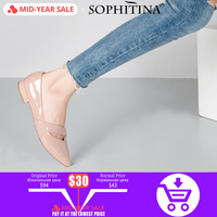 SOPHITINA Comfortable Women Flats Patent Leather Pointed Toe Casual Shoes Spring Summer Pink Slip on Soft Office Lady Flats P65