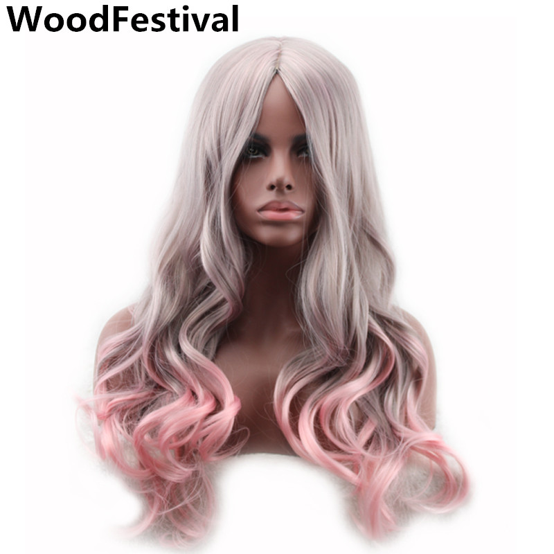 WoodFestival Heat Resistant Two Tone Pink To Grey Synthetic Wig Long Wavy Cosplay Wigs For Women