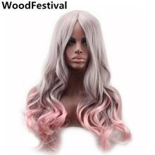 дешево✲  модный двухцветный длинный волнистый парик ombre серый серый розовый парик для женщин  Лучший!