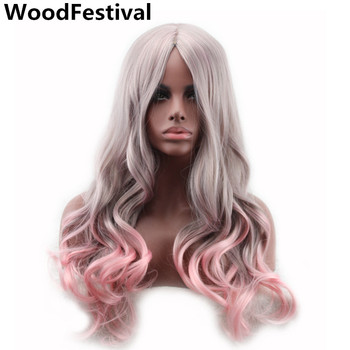 цена на WoodFestival Two Tone Pink to Grey Wig Heat Resistant Women Long Wavy Ombre Cosplay Wigs Synthetic Hair