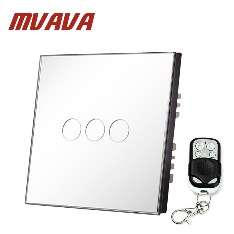 MVAVA 3 Gang 1 Way EU White Crystal Glass Panel Wall Touch Switch Wireless Remote Touch Screen Light Switch With LED Indicator 1 way 3 gang crystal glass panel touch screen home light wall switch remote controller ac100 250v best price