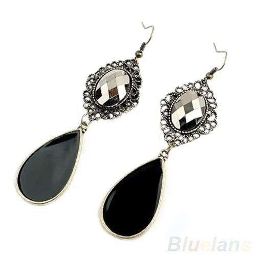 Hot A Pair Black Alloy Retro Style Long Dangle Drop Earrings for women Fashion 1EAP 7GAT BDW9