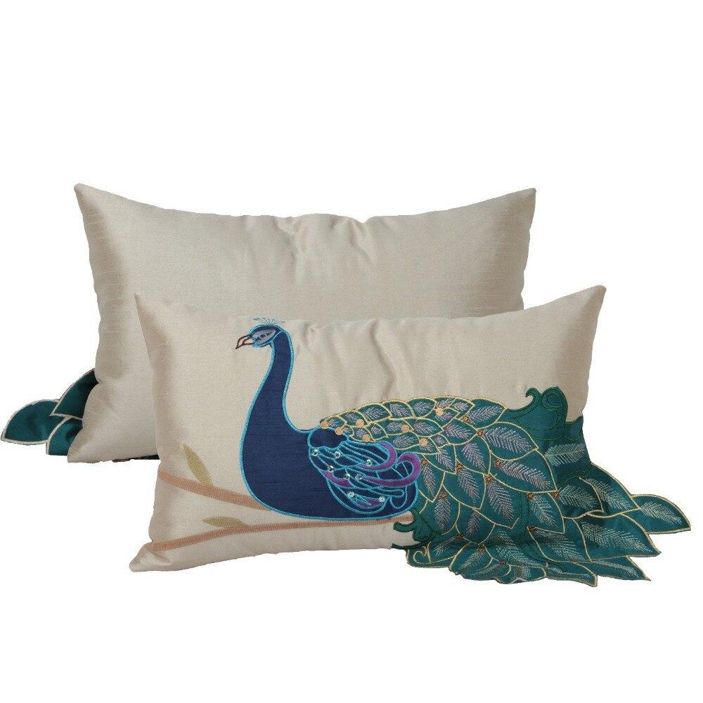 1 unid pavo real hermoso decorativo fundas de almohada bordado a ...