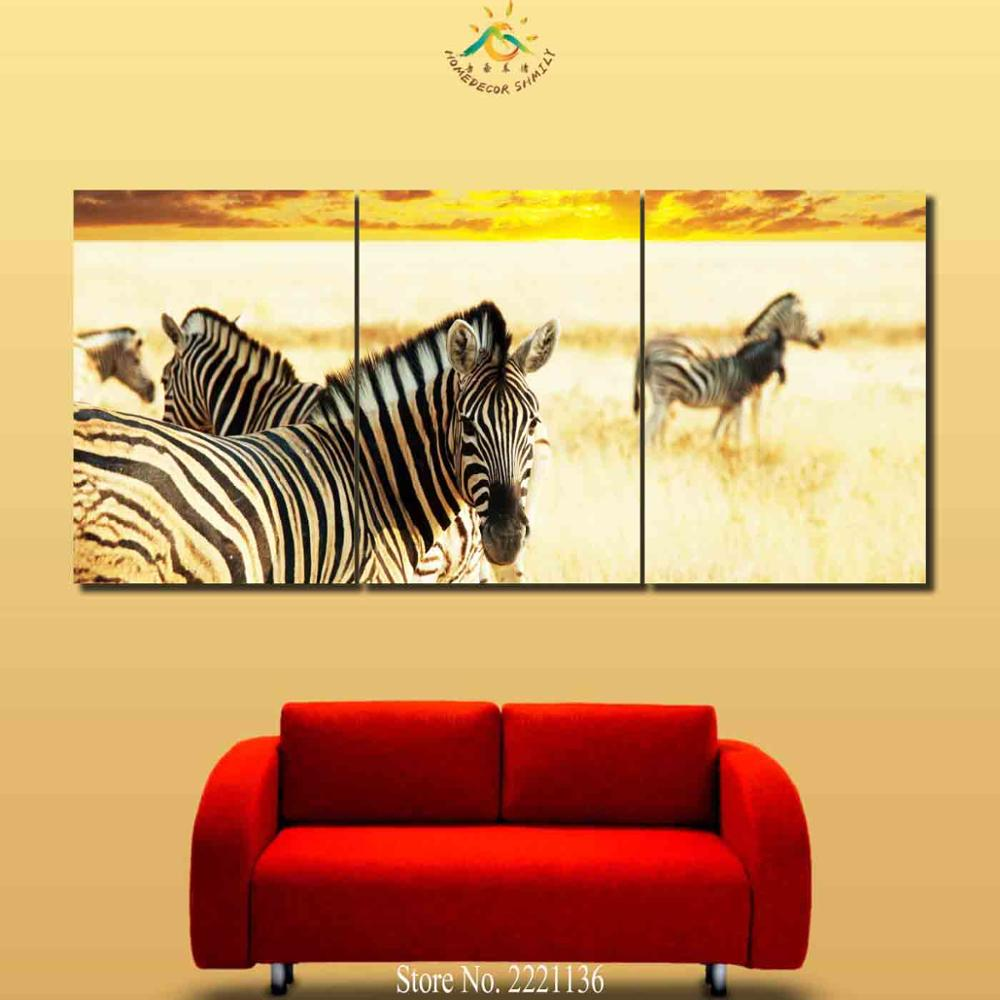 Aliexpress.com : Buy 3 4 5 Pieces Two Zebras Modern Wall Art Canvas ...