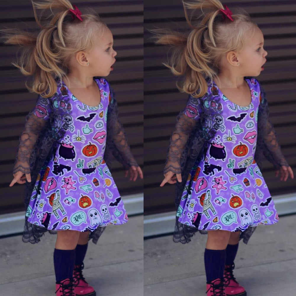 Halloween Outfits 2019.2019 New Toddler Infant Baby Girls Cartoon Animals Print Dress Halloween Costume Outfits Kawaii Solid Clothing Winter Keep Warm