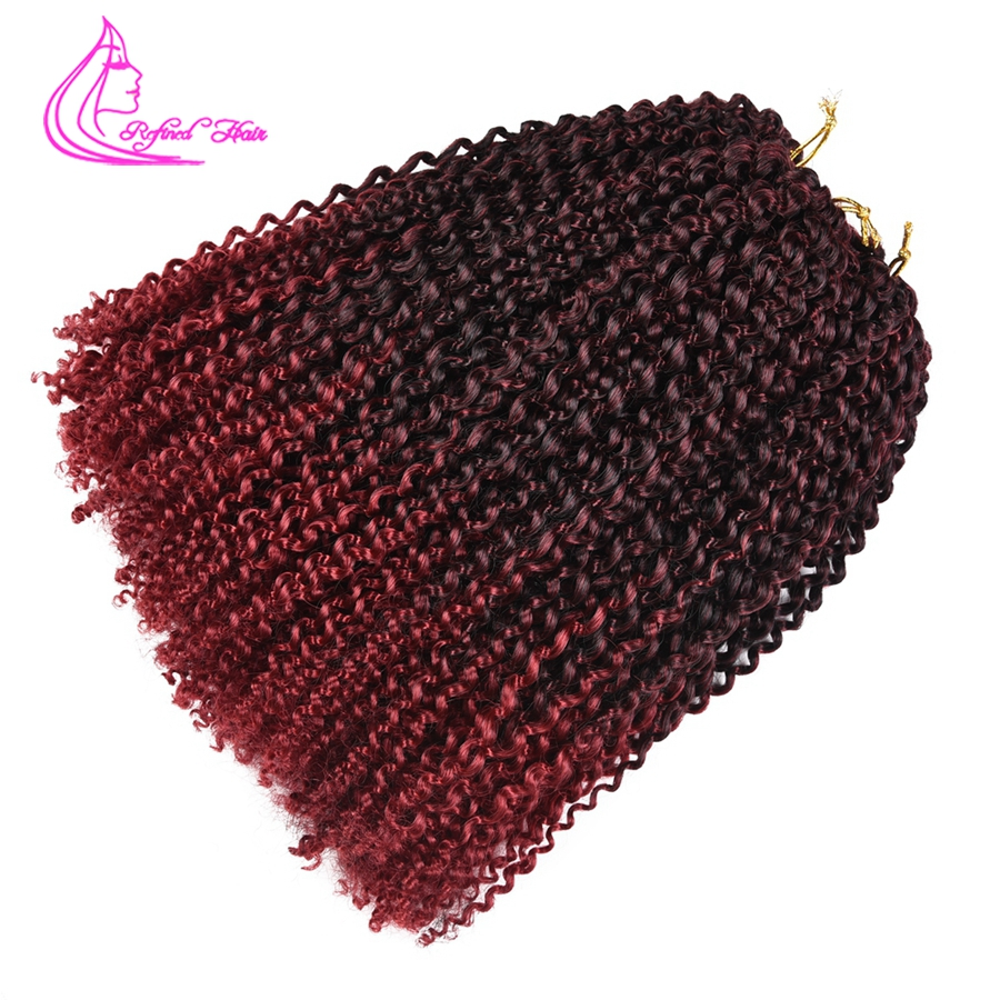 Refined Hair12Inch Marlybob Curly Twist Crochet Braids Braiding Hair Extensions 24Strands Ombre Kinky Curly Hair