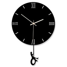 2019 new best selling acrylic swing wall clock Creative home black and white decorative clocks hangings