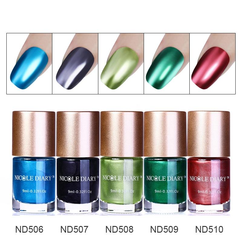 Online Shop 9ml NICOLE DIARY Metallic Nail Polish Mirror Effect ...