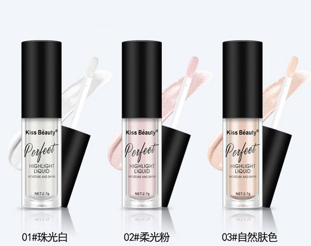 2018 New Kiss Beauty Brand Highlighter Contour Cosmetics Long Lasting Face Brighten Shimmer Glow Liquid Highlighters Makeup