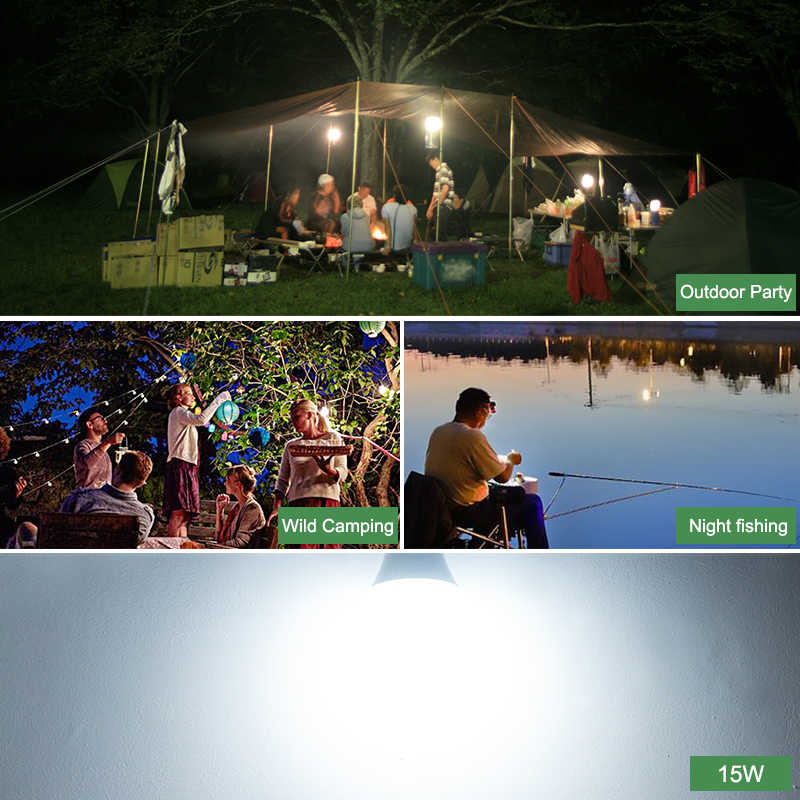 Kaguyhime 12V Portable Clip/220V E27 Camping Fishing Emergency LED Bulb DC/AC Ring Hang Light Lamp 3W 7W 9W 12W 15W For Outdoor