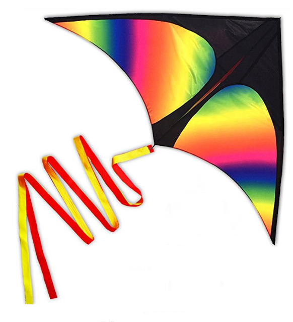 Outdoor Fun Sports HUGE Rainbow Delta Kites for Kids 150cm With 3m Long Tail With Handle And String Good Flying