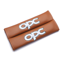 Modification For OPC RACING emblem brown leather seat belt cover shoulder pad Car accessories for opel astra j h insignia