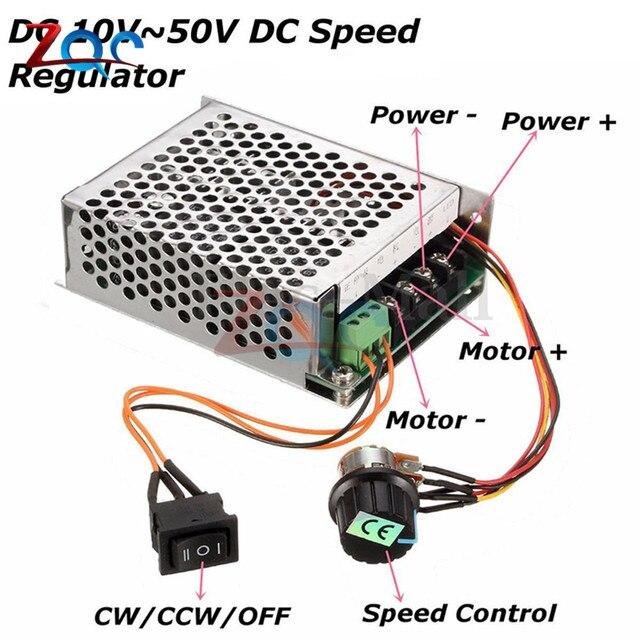 Moteur PWM 10-50V 40A cc | Contrôleur de vitesse, moteur PWM 12V/24V/36V/48V, interrupteur inversé CW CCW, pilote dimpulsion réversible 10V-50V
