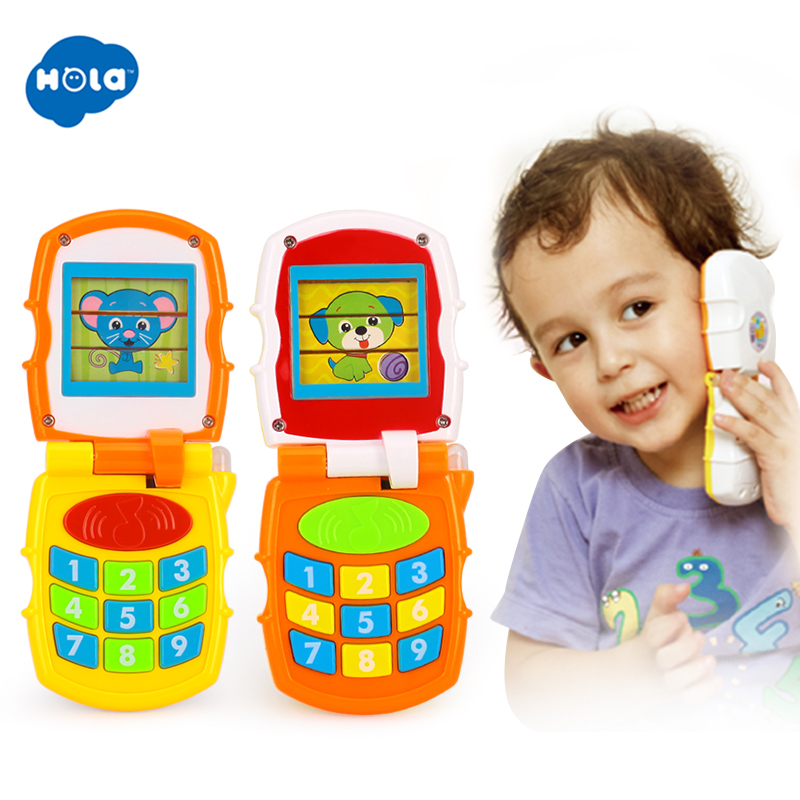 HOLA 766 Baby Toy Flip Phone Toy Baby Learning Study Musical Sound Phone Learning Educational Toy For Children Xmas Gifts
